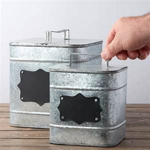 Square Galvanized Canister Set - Decorative Containers