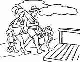Coloring Beach Pages Gambar Boardwalk Together Fun Mewarnai Template Printable Keluarga sketch template