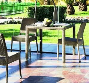 Table Carre Exterieur : table de jardin carr e en aluminium et r sine tress e brin d 39 ouest ~ Teatrodelosmanantiales.com Idées de Décoration