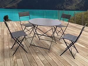 Chaise De Jardin Metal : salon de jardin chico m tal taupe 1 table et 4 chaises 54417 ~ Dailycaller-alerts.com Idées de Décoration
