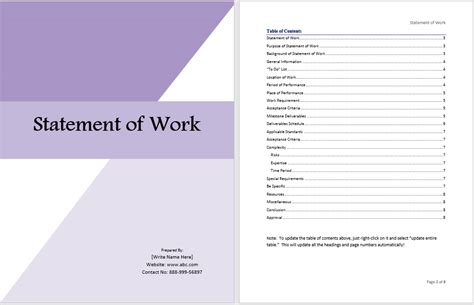 statement  work template ms office documents