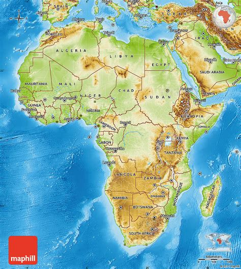 physical map  africa labeled  travel information