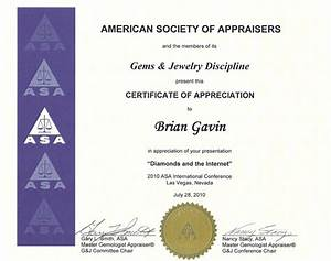 international conference certificate templates - american society of appraisers certificate of appreciation