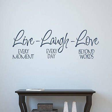 This piece compliments any decor style, and makes a wonderful housewarming, wedding or anniversary gift. Live Laugh Love Wall Sticker | Wall art quotes, Love wall, Love wall art