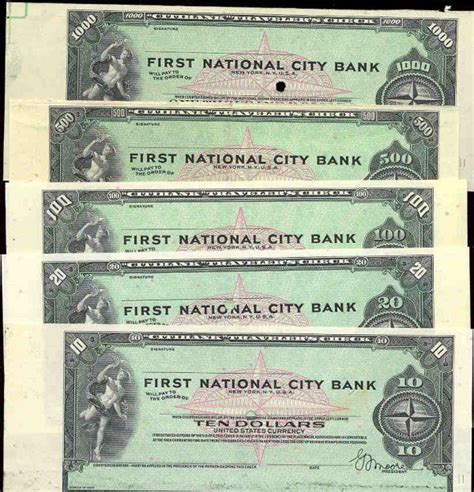 1st Term Paper Jersey City by 1st National City Bank Specimen Traveler S Checks