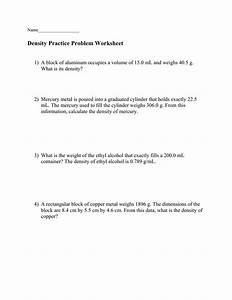 Worksheet On Density And Specific Gravity