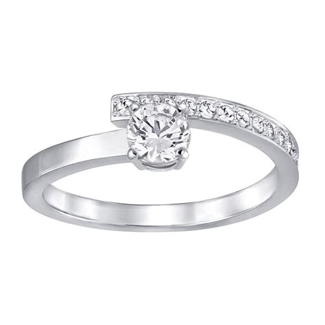 Swarovski Fresh Small Rhodium & Clear Crystal Ring - Rings