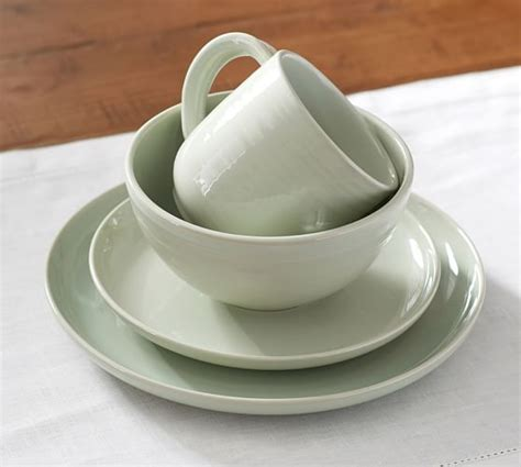 pottery barn dinnerware joshua 16 dinnerware set green pottery barn