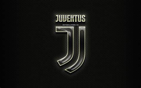 Download wallpapers Juventus FC, glass logo, black rhombic ...