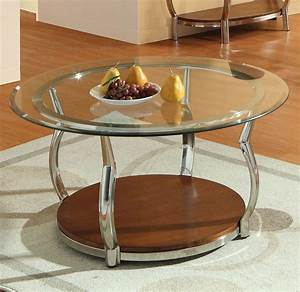 homelegance wells round glass cocktail table w chrome With round glass coffee table with chrome legs