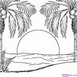 Sunset Coloring Pages Ocean Getcolorings sketch template