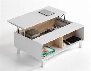 Table Basse Relevable Domino Plus Blanc Brillantchene