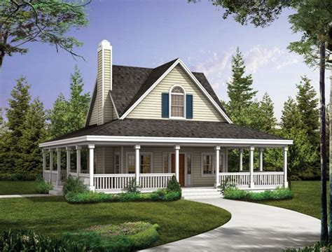 covered porch wraps   entire  bedroom country style home country house plan