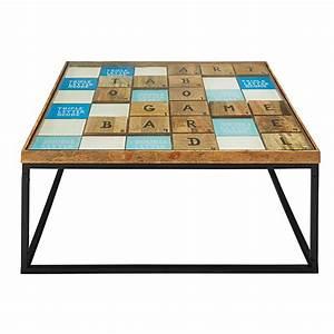 Table En Manguier : table basse en manguier massif et verre scrabble maisons du monde ~ Teatrodelosmanantiales.com Idées de Décoration