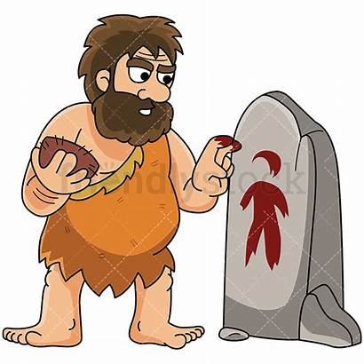 Caveman Cartoon Painting Clipart Stone Human Figure