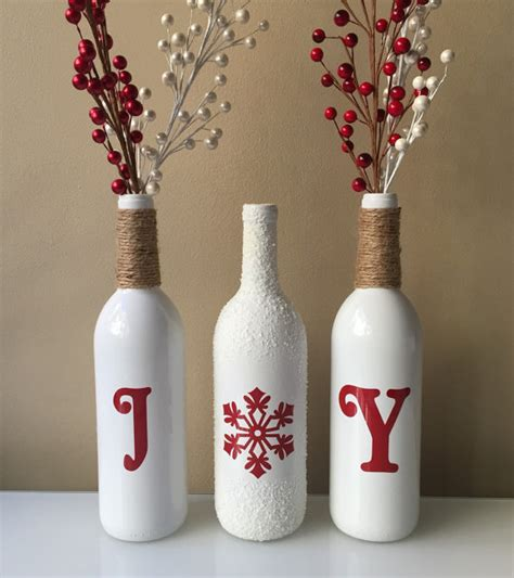 joy wine bottles christmas decoration snow wine bottles