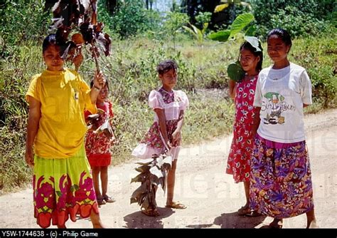 Federated States of Micronesia people waiting in the road ...