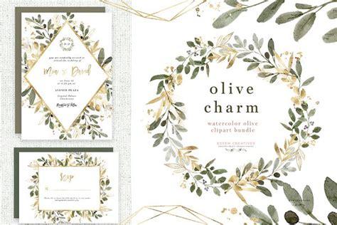 watercolor olive branch clipart gold pre designed