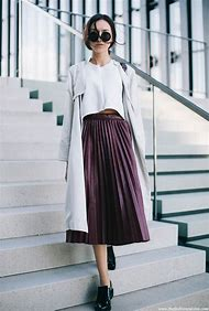 Leather Pleated Skirt Fashion