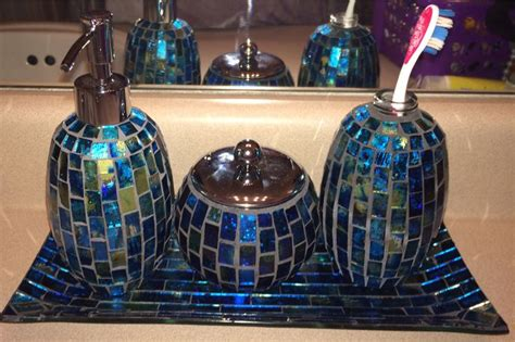 blue turquoise  green mosaic bathroom accessories set