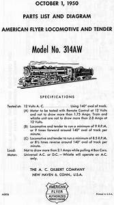 American Flyer Locomotive 314aw Parts List  U0026 Diagram
