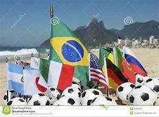 International Football Country Flags Soccer Balls Rio De