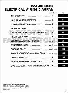 2002 Toyota 4runner Wiring Diagram Manual Original