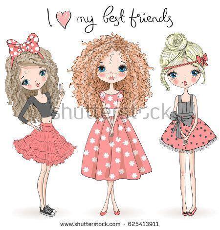 hand drawn beautiful cute girls   background