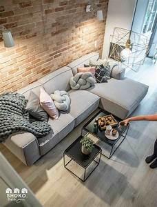 Mur Brique Salon : salon d co vieux rose et gris mur de brique claire sol ~ Zukunftsfamilie.com Idées de Décoration