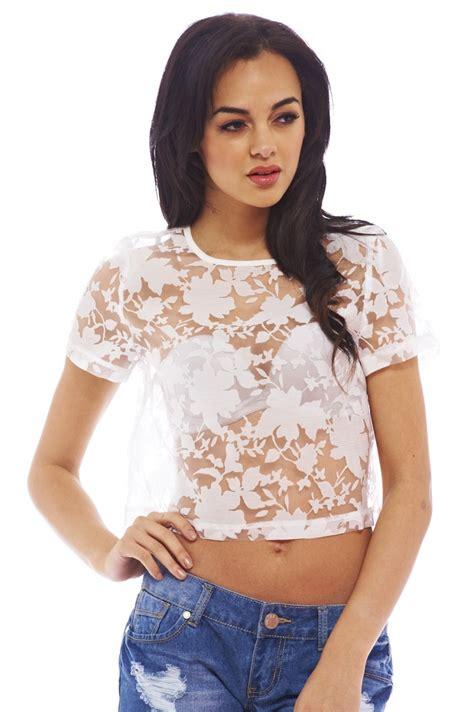 Womens Sheer Lace Cropped Cream Top - Tops | AX Paris USA