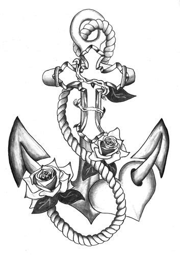 Image result for ANCHOR AND FLOWERS tattoo | pale blue colored eyes...1.23..18