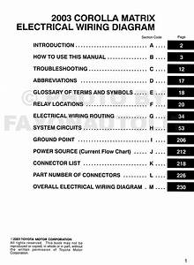 2003 Toyota Corolla Matrix Wiring Diagram Manual Original