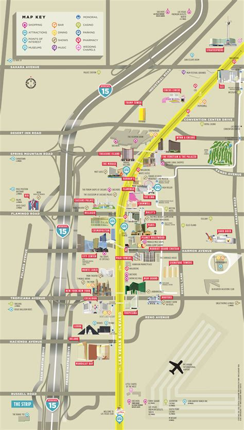 vegas map guide las vegas map guide   vegas strip