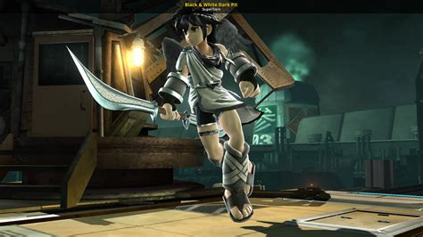 black white dark pit super smash bros  wii