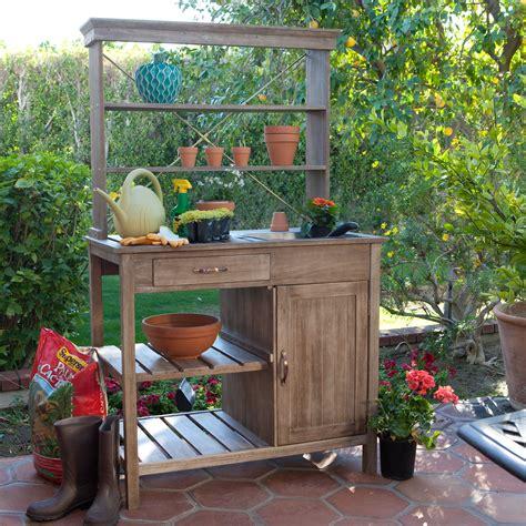 outdoor potting bench coral coast rustic garden storage potting bench