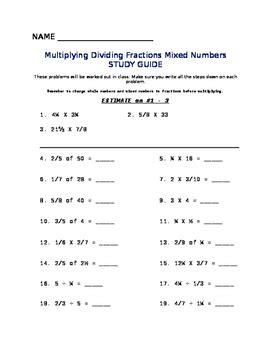 multiplying dividing fractions mixed numbers worksheet tpt