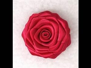 DIY Ribbon Rose, Tutorial, How to make - YouTube