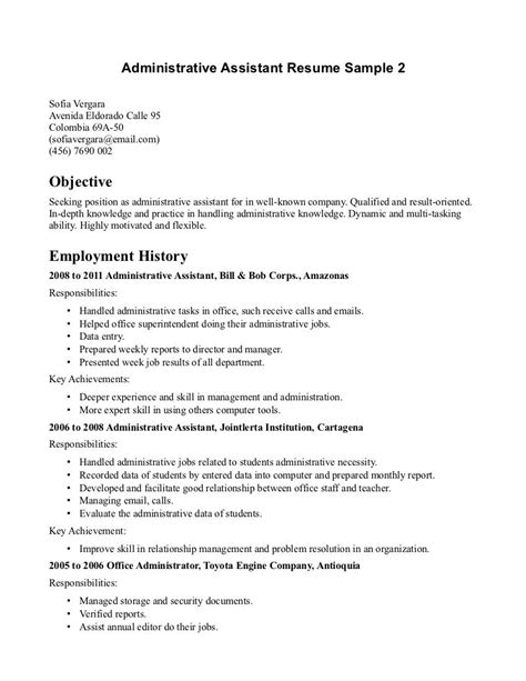 Administrative Assistant Resume Objective by Sle Objectives For Administrative Resumes
