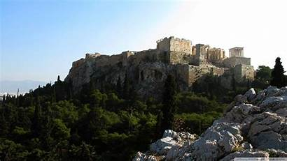 Ruins Ancient Greece Castle Background Wallpapers Nature