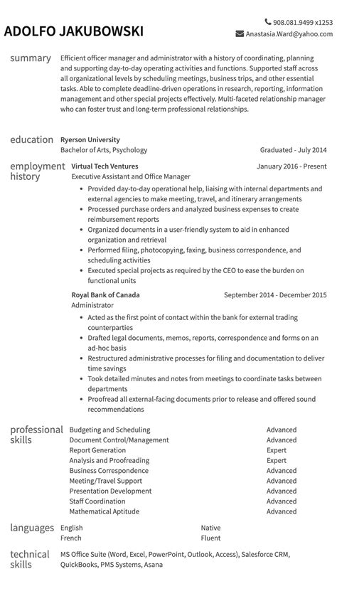 An Exle Of A Resume For A by Administrative Resumes Resume Exle Resume