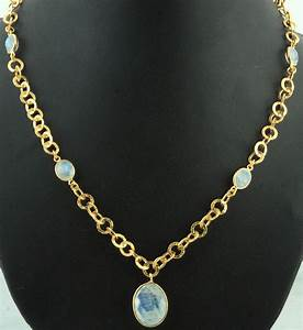 Faceted Rainbow Moonstone Gold Plated Necklace