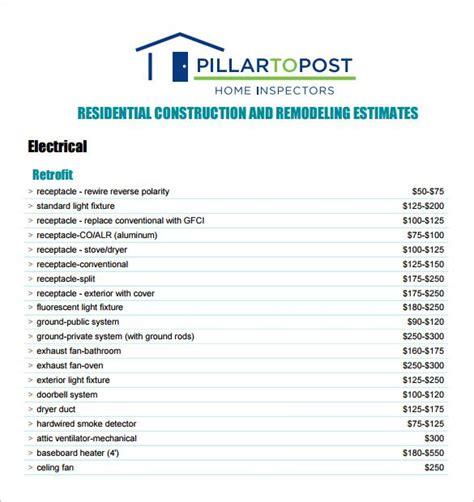 contractor estimate forms contractor estimate form