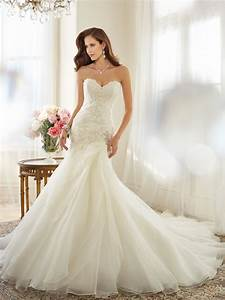 organza a line wedding dress with dropped waist With drop waist a line wedding dress