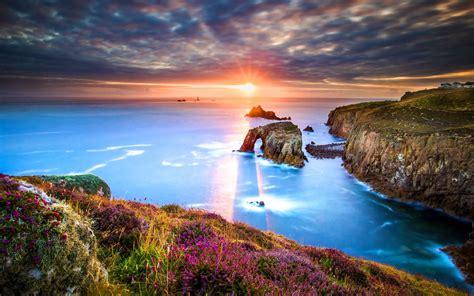 Wallpaper Sunrise, Lands End, Cornwall, England, HD, 4K