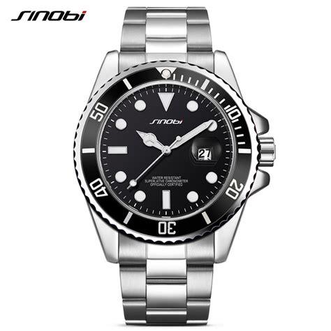 jam rolex submarine silver sinobi jam tangan diver submariner pria 9721 black