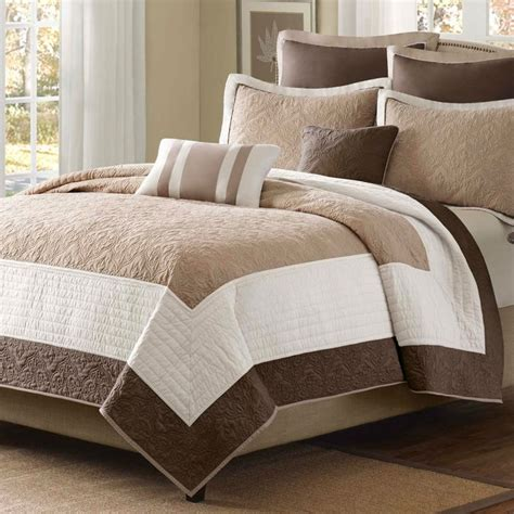 Brown Quilted Coverlet by King Brown Ivory 7 Quilt Coverlet