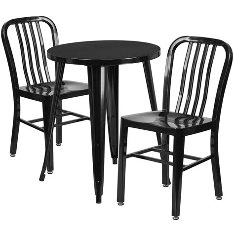 24 black metal indoor outdoor table set with 2