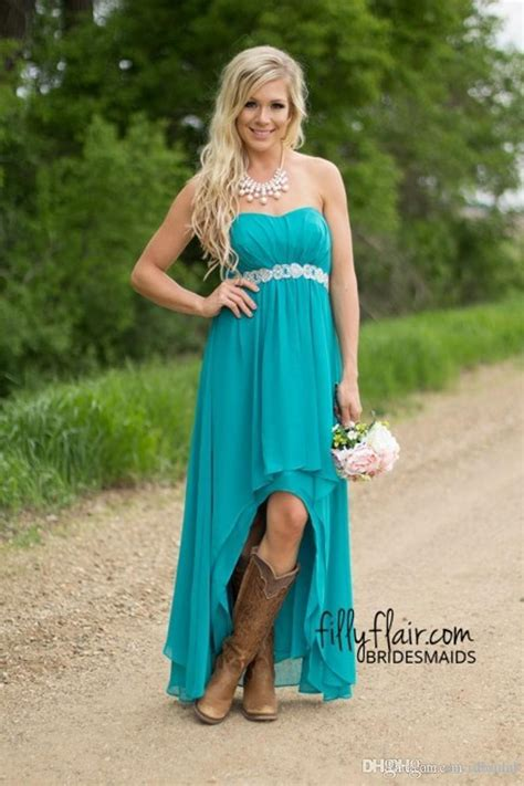 turquoise high  bridesmaid dresses cheap