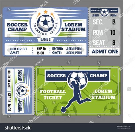 football ticket template design coupon soccer stock vector