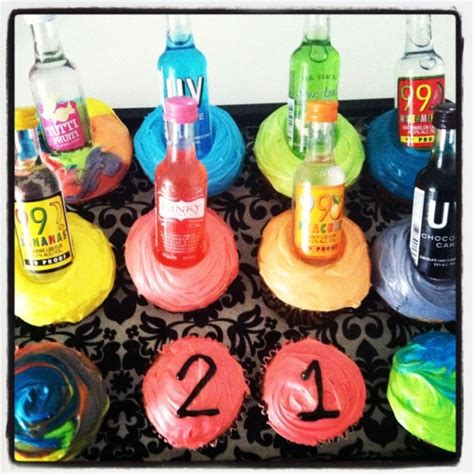 st birthday gift  cupcakes  put small liquor